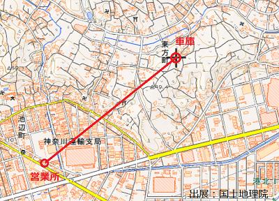 営業所と車庫の距離周辺地図