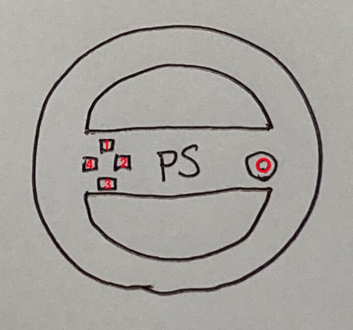 ハンドル拡大部分 真ん中はプレイステーションコントローラ